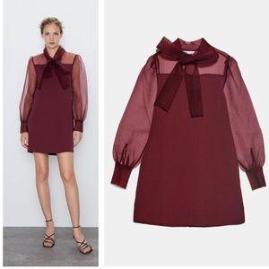 Zara organza sleeve mini dress with bow